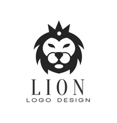 lion logo design element with wild animal vector image