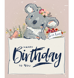 Little birthday koala vector