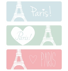 Love Paris pastel banner set with Eiffel Tower vector
