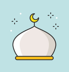 Masjid or mosque filled outline icon vector