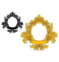 Medieval floral frame vector