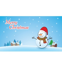 Merry Christmas background with snowman vector image