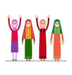 muslim girls or arab girls girls stand in the vector image