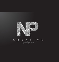 Np n p letter logo with zebra lines texture vector
