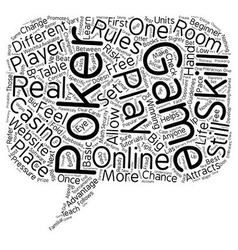 online poker game text background wordcloud vector image