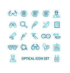 optical signs color thin line icon set vector image