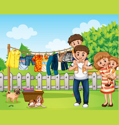 Outdoor scene with happy family playing vector