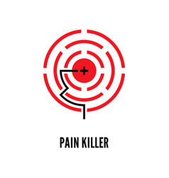 Painkiller red pain circle poster template vector