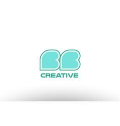 Pastel green alphabet letter bb b b combination vector