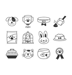 pet store icons vector image