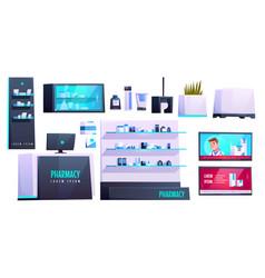 Pharmacy store medical drugstore equipment set vector