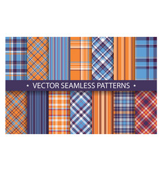 plaid pattern seamless ornate set blue and orange vector image