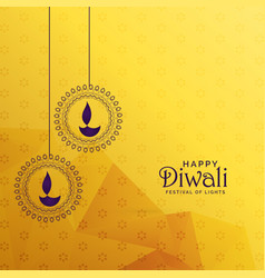 Premium diwali greeting card design with diya vector