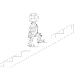 puppet 3d man walking stairs vector image