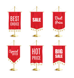 Red pennant banner set with hot sale and special vector