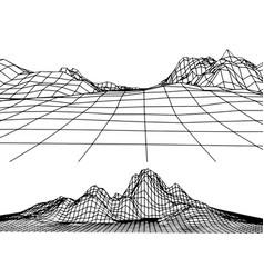 Retro grid rocks vector