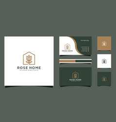 rose home logo design good for business card vector image