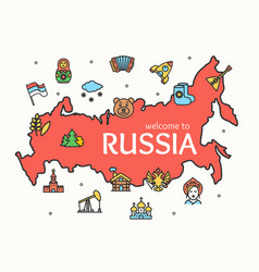 russia design template line icon welcome concept vector image