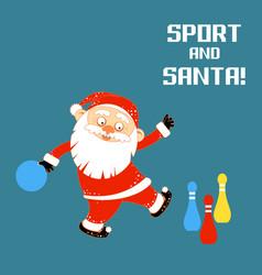 santa claus playing sports games bowling vector image
