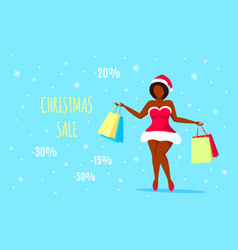 santa girl with shopping bags in hands vector image