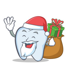 Santa tooth character cartoon style with gift vector