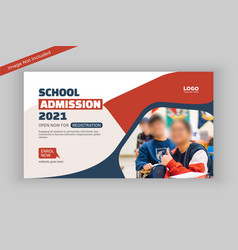 School admission social media banner template vector
