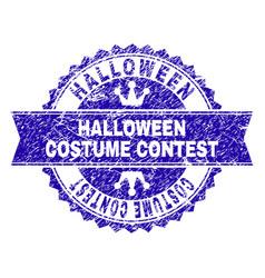 Scratched textured halloween costume contest stamp vector