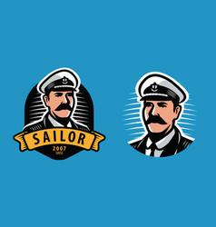 sea captain emblem sailing seafaring symbol vector image