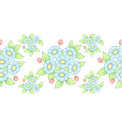 seamless pastel flowers brush vector image