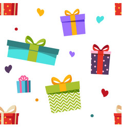seamless pattern different gift boxes and hearts vector image