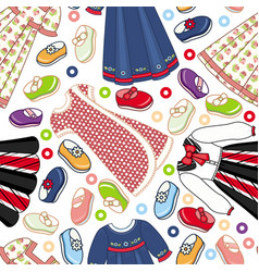 Seamless pattern of little girl dresses and shoes vector