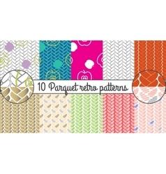 Seamless pattern set Parquet retro vector