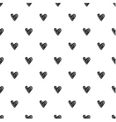 seamless pattern with black hearts on white vector image