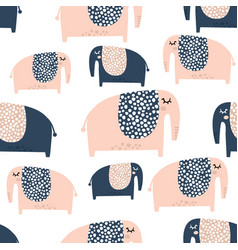 Seamless pattern with cute baby elephant creative vector