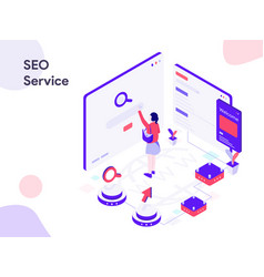 Seo service isometric modern flat design style vector