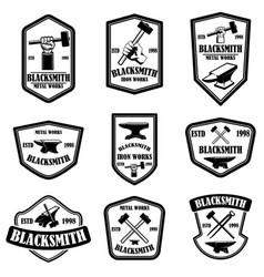 Set blacksmith emblems design element for logo vector