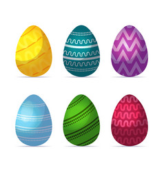 set decorated colorful eggs happy easter spring vector image