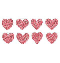 Set heart drawn painted with a brush hand vector