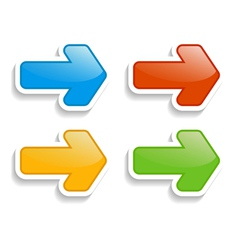 set of 4 arrow stickers vector image
