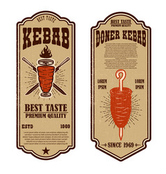 set of vintage doner kebab flyer templates design vector image