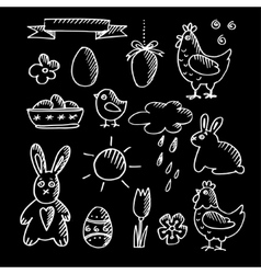 set spring easter chalk doodle sketches icons vector image