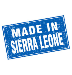 Sierra leone blue square grunge made in stamp vector