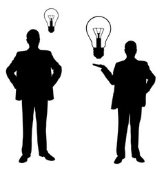 Silhouettes of men with light bulbs vector