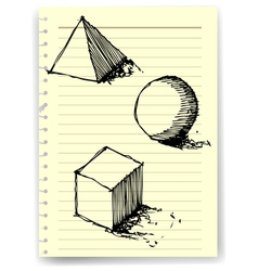 sketch drawing of geometry on lined paper vector image
