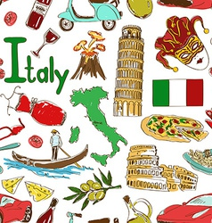 Sketch Italy seamless pattern vector