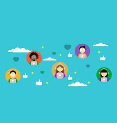 social media network flat design vector image