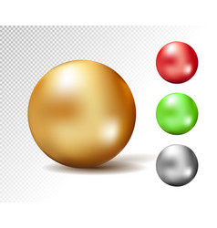 sphere 3d glossy gold and other colors vector image