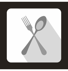 Spoon and fork icon in flat style vector