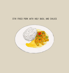 Stir-fried pork and holy basil thai food hand vector