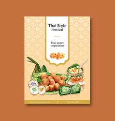 Thai sweet poster design with custard vector
